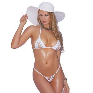 aa10b481507 Zebra Print Elegant Moments. $12 $35. Lycra bikini Top & G-String w/Lace Up  Detail